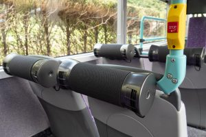 Close up of AirBubbl devices on the back of seats